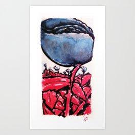 Red Stemmed Blue Roses field Art Print