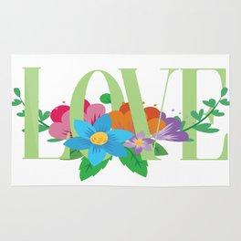 love vs floral pocket Rug