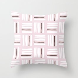 Stripes×Checkered Pattern_Dusty Pink&Chocolate Throw Pillow