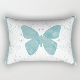 Decorative White Overlay Turquoise Marble Buttefly Rectangular Pillow