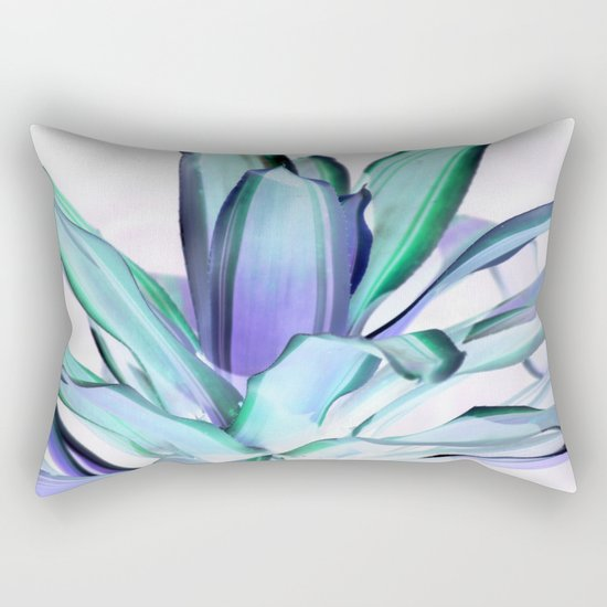 Periwinkle Lavender Seafoam Aloe Leaves Abstract Rectangular Pillow