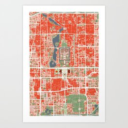 Beijing city map classic Art Print