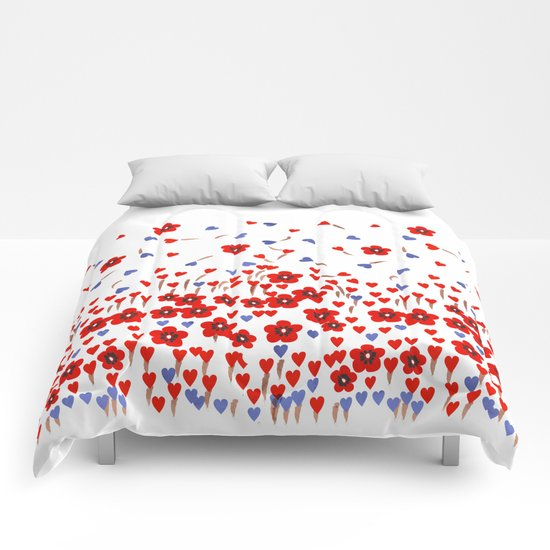 Flowers and Hearts Comforters