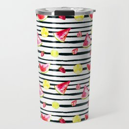 Hand painted black pink yellow watercolor summer fruit pattern Travel Mug