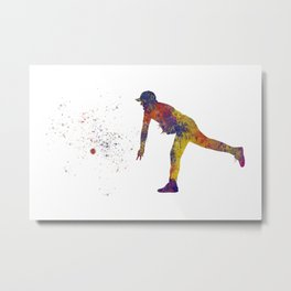 Baseball player in watercolor 12 Metal Print