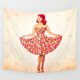 """""""Check Out These Melons"""" - The Playful Pinup - Girl in Watermelon Dress by Maxwell H. Johnson Wall Tapestry"""