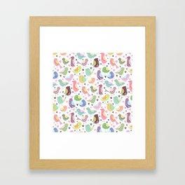 Seamless Bird Pattern Framed Art Print