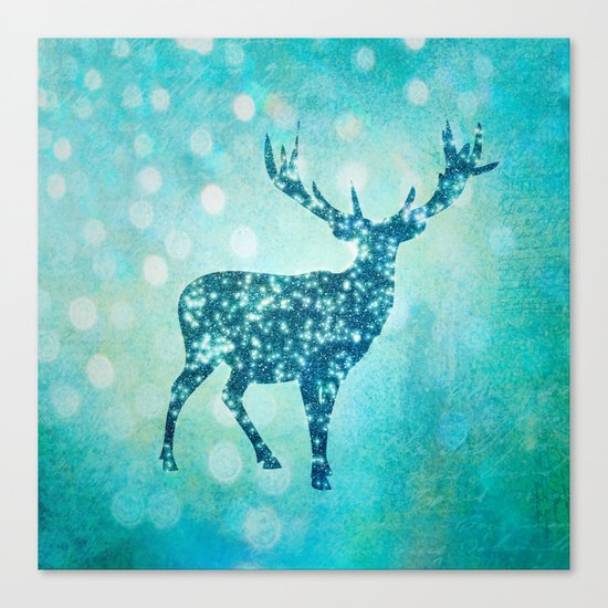 Aqua Turquoise Animal with Glitter Effect -Blue deer Canvas Print