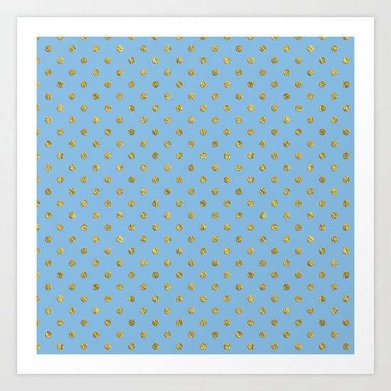 Gold polkadots on sky blue background Art Print