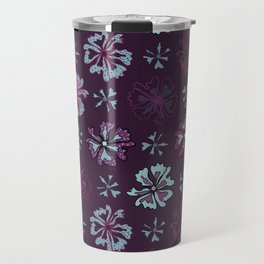 Purple Graphic Large Scale Flower Blooms Pattern Travel Mug