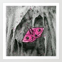 Pink Watercolor Moth Art Print