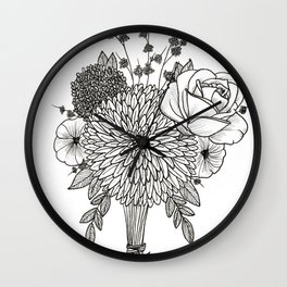 Black and White Bouquet Wall Clock