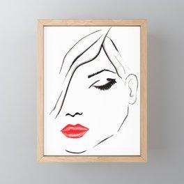 Lips and lashes Fashion illustration  Framed Mini Art Print