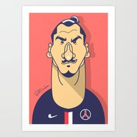 zlatan Art Prints featuring Zlatan portrait by Rudi Gundersen