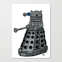 dalek Canvas Prints featuring Dalek by Rebecca Bear