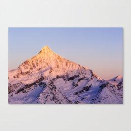 Weisshorn mountain peak at dawn Canvas Print