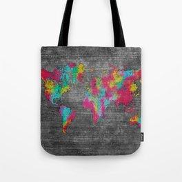 world map 81 dark color mosaic Tote Bag
