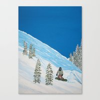 snowboarding Canvas Prints featuring Snowboarding by N_T_STEELART
