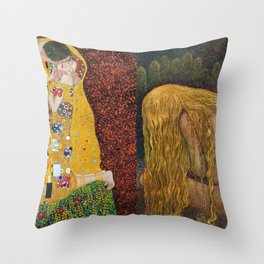 The Kiss & The Girl Who Lost Everything collage by Gustav Klimt and John Bauer portrait painting Throw Pillow