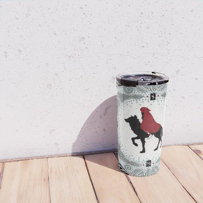 Red and Wolf Travel Mug