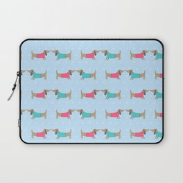 Cute dog lovers with dots in blue Laptop Sleeve