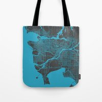 vancouver Tote Bags featuring Vancouver Map by Map Map Maps