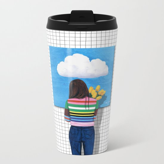 Spring Rain_ver1 Metal Travel Mug