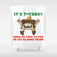 taco Shower Curtains featuring Taco Tuesday by Fuzzy Eggs