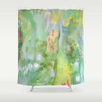 amelie Shower Curtains featuring Amelie Abstraction by Annie Flynn