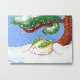 Snow and Mochi Metal Print