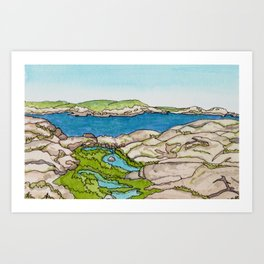 Peggy's Cove Watercolour Painting Backside Art Print