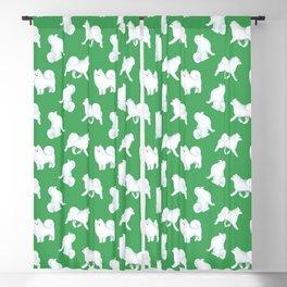 Samoyed Pattern (Green Background) Blackout Curtain