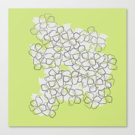 White Abstract Flower Pattern on Lime Green Background Canvas Print