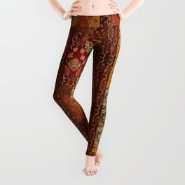 Vintage textile patches Leggings
