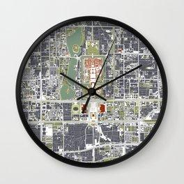 Beijing city map engraving Wall Clock