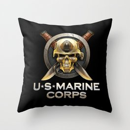 Military badge with marine skull Throw Pillow