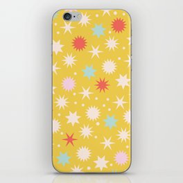 Vintage Christmas Wrapping Paper Pattern Design Mustard Stars & Dots iPhone Skin