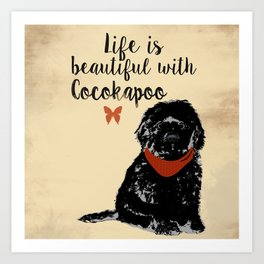 Black Cockapoo Dog Art Print
