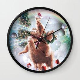 Christmas Laser Eyes Space Cat Riding Sloth Llama Wall Clock
