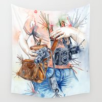 photographer Wall Tapestries featuring The Photographer by Veronika Neto