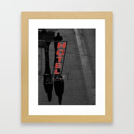 Street Photography Black and White and Red Hotel Italian Framed Art Print