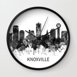 Knoxville Tennessee Skyline BW Wall Clock