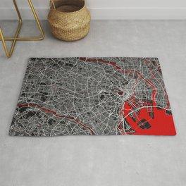 Tokyo City Map of Japan - Oriental Red Rug