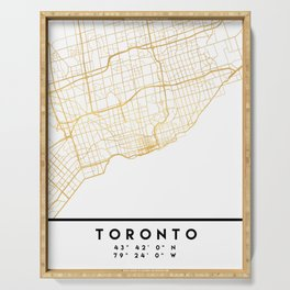 TORONTO CANADA CITY STREET MAP ART Serving Tray