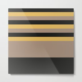 The bee theme | pattern | black bright brown yellow stripes Metal Print