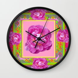 Exotic Pink Peony in a  Grey, Chartreuse, & Pink Pattered Abstract Wall Clock