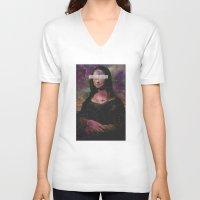 mona lisa V-neck T-shirts featuring Mona Lisa by Alberto Lorenzo