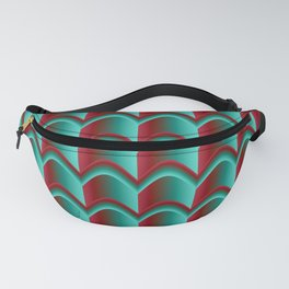 Abstract Green&Red Pattern Fanny Pack