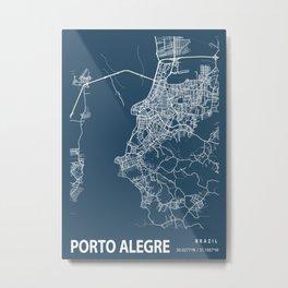 Porto Alegre Blueprint Street Map, Porto Alegre Colour Map Prints Metal Print