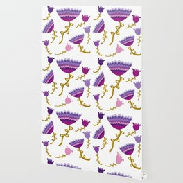 Florets Plum Wallpaper